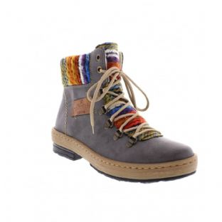Rieker Z6743-45 Ladies Grey Combination Ankle Boots